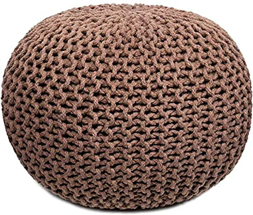 A R Creations Pouf for Living Room Sitting Round Ottoman Bean Filled Stool for Foot Rest Home Furniture Rope Twisted Bean Bag