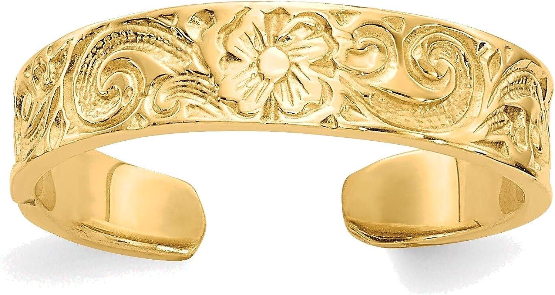 Bonyak Jewelry Flower/Scroll Toe Ring in 14K Yellow Gold in Size 11
