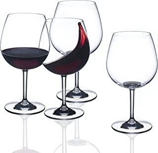 FDCuvée 23 oz Set of 4 Drama Free Unbreakable Stemmed Wine Glass, 100% Tritan, Dishwasher safe, Odorless, BPA Free, Not Glass Material, Indoor, Outdoor, Parties and Camping