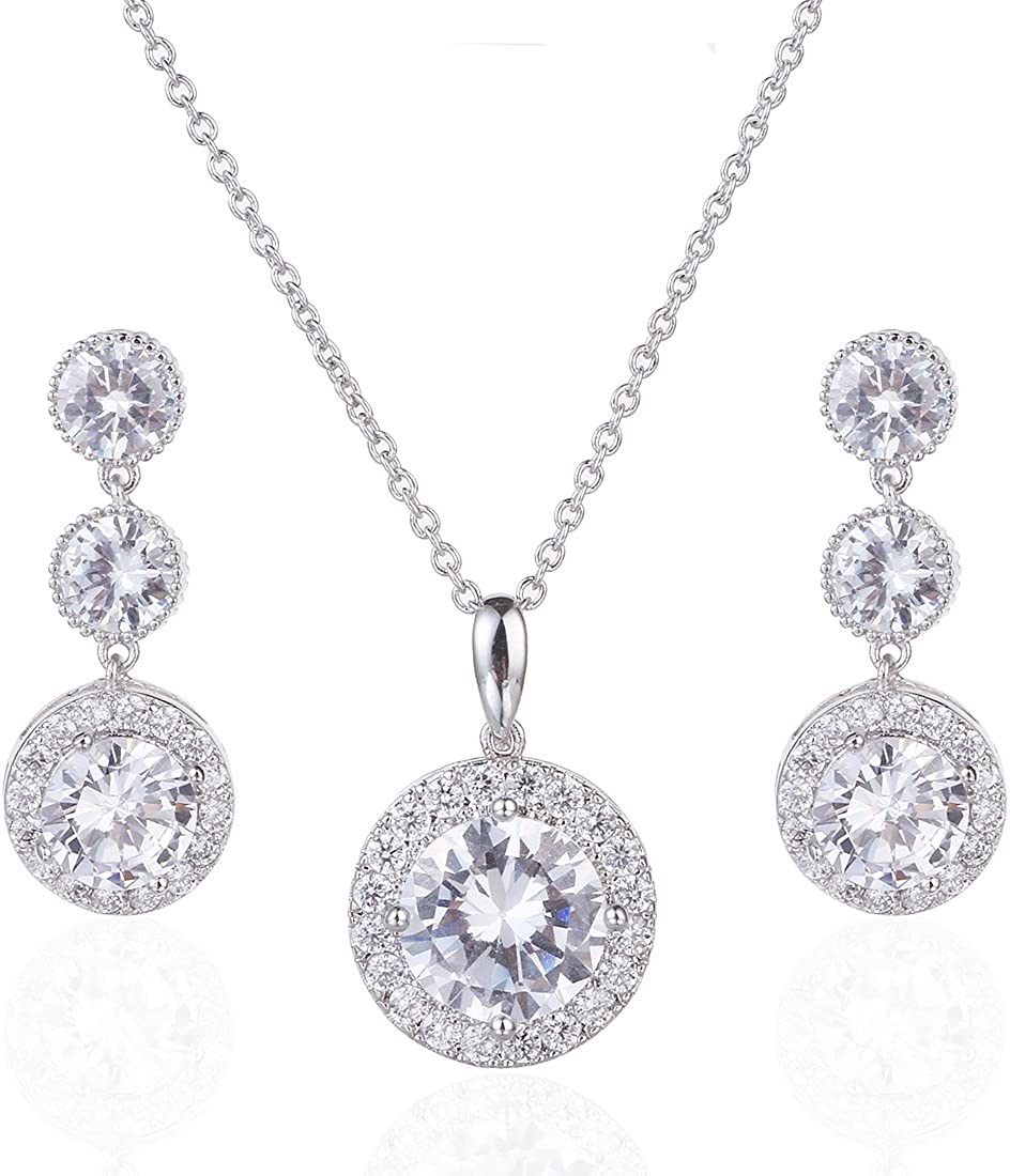 Wordless Love Gorgeous Round Halo CZ Wedding Jewelry Sets For Brides Earrings and Necklace