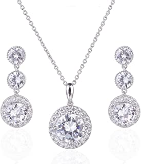 Gorgeous Round Halo CZ Wedding Jewelry Sets for Brides Earrings and Necklace