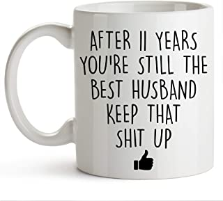 YouNique Designs 11 Year Anniversary Coffee Mug for Him, 11 Ounces, 11th Wedding Anniversary Cup For Husband, Eleven Years, Eleventh Year, 11th Year