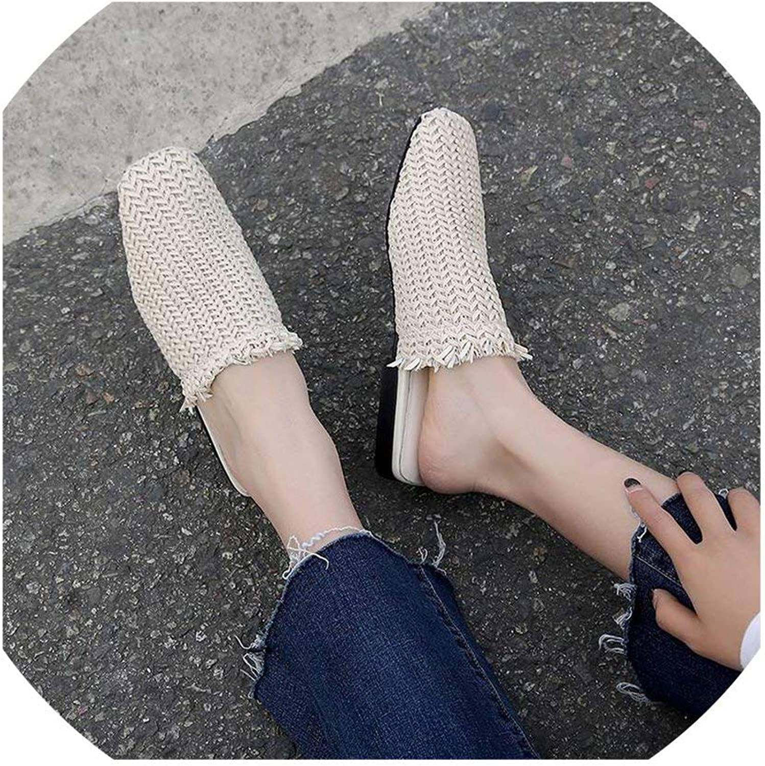 HuaHua-Store Vintage Country Style Square Toe Slip On Mules Pretty Girls Large Size Slippers Straw shoes