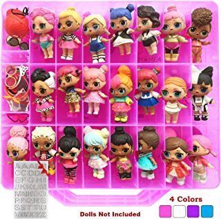 HOME4 LOL Double Sided Storage Container - BPA Free - Organizer Case - 48 Compartments - Perfect for Small Dolls and Toys - Dolls Not Included (Pink)