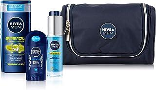NIVEA MEN Bestseller set, toilettas met Energy verzorgende douche, Active Energy Wake-up gel en Fresh Active Stick, set vo...
