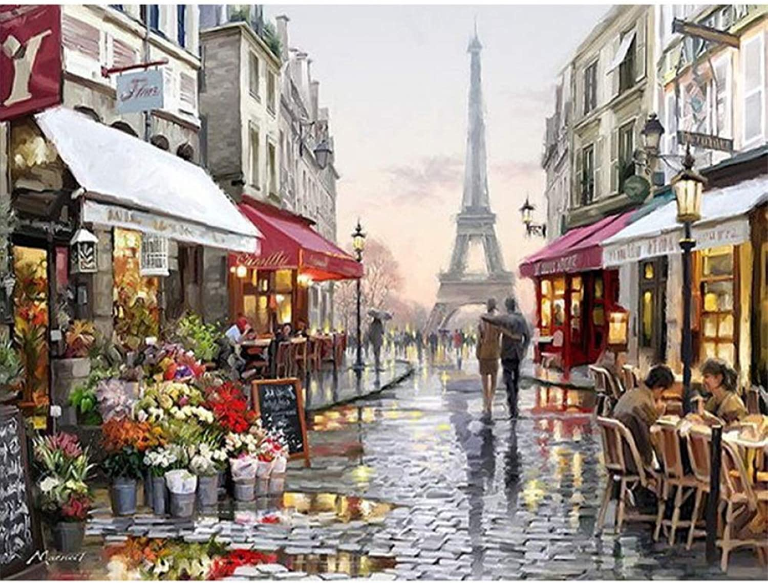 QIAISHI Europe City Street Painting By Numbers DIY Handpainted Abstract coloring By numbers On Canvas Wall Decor