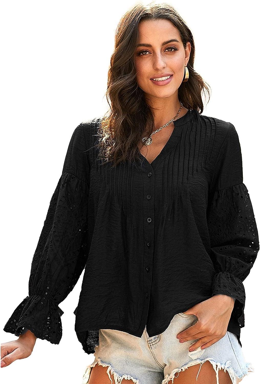 Womens Fall Casual Tops Round Neck Polka Dot Print Tunic Long Sleeve Ruffle Shirts Top