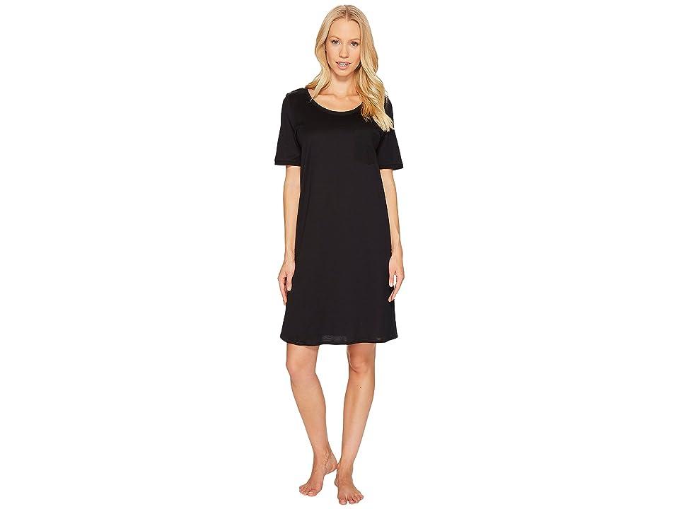 Hanro Cotton Deluxe S/S Big Shirt (Black) Women