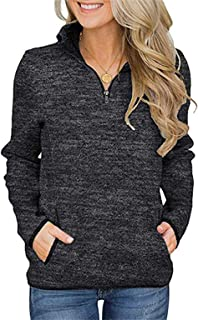 Smile Fish Women's Casual Long Sleeve Stand Collar Sweatshirt Top 1/4 Zip Jumper with Pockets