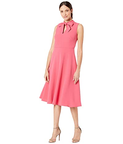 Maggy London Solid Crepe Fit and Flare with Neck Tie (Sugar Pink) Women