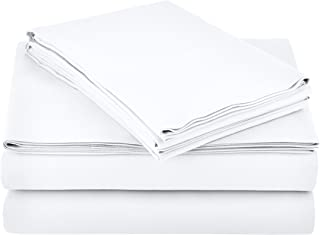 "AmazonBasics Lightweight Super Soft Easy Care Microfiber Sheet Set with 16"" Deep Pockets - Queen, Bright White, 4-Pack"