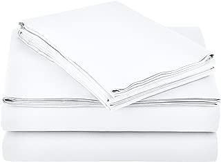 AmazonBasics Light-Weight Microfiber Sheet Set - Queen, Bright White