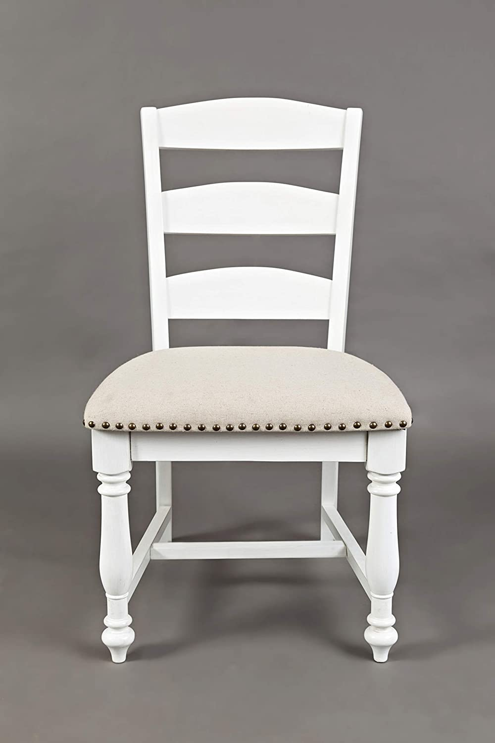 Benzara BM184008 Wooden Dining Chair with Padded Seat, Set of Two, White