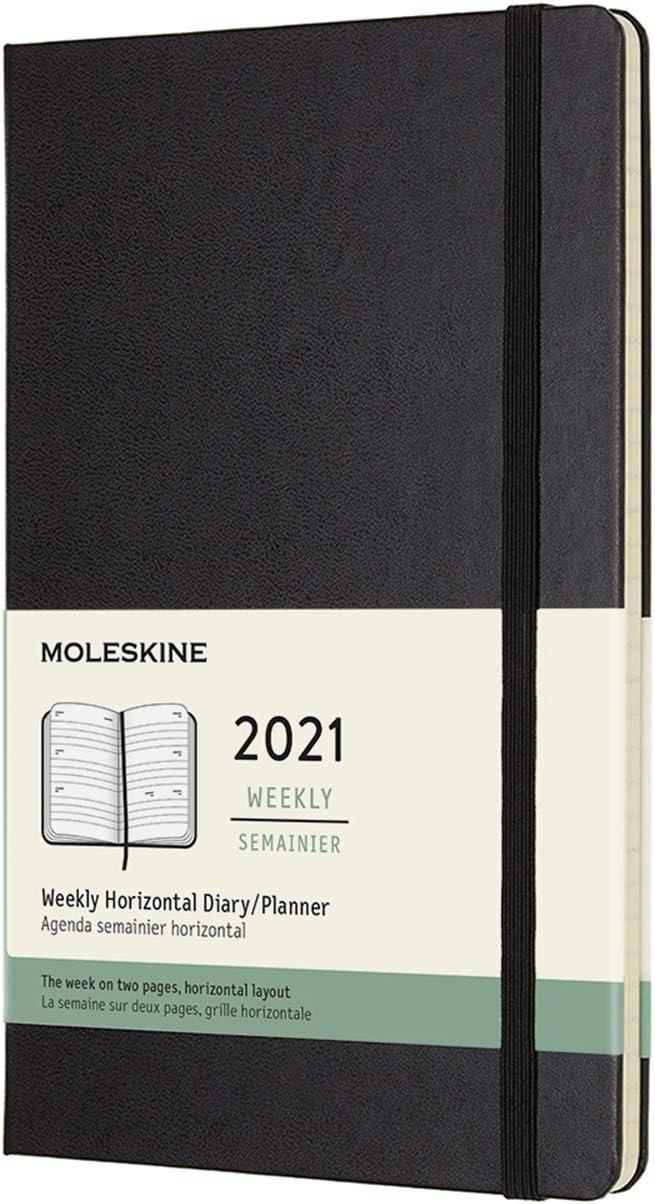 Agenda semanal 12 meses 2021 Moleskine 21x13 cm negro