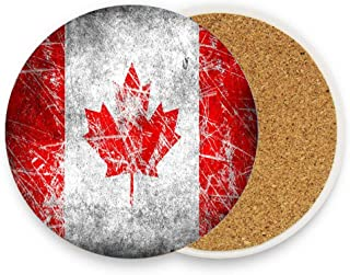 Flag Of Canada Drink Coaster, Absorbent Ceramic Coaster 1 Pack Cork Backing Protect Furniture from Scratches