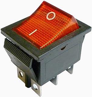 Rött ljus upplyst DPDT Momentär vippbrytare på-på-knapp i 22 x 30 mm 6 stift legend: I-O