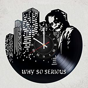Joker Movie Vinyl Wall Clock - Amazing Gift for Your boy or Joker`S Fan DC Comics Merchandise Gifts for Children Bedroom Decor Batman - Suicide Squad Gotham City