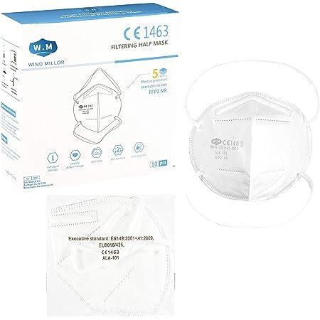Wind Millor 10 mascherine ffp2 5 strati certificate CE 1463 con elastico dietro la testa fpp2 mascherine con elastico dietro la nuca ffp2 certificate ce con filtro antiparticolato