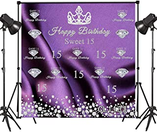 HVEST 8x8ft Vinyl Happy Birthday Backdrop Silver Crown Sweet 15th Years Old Photography Background Photo Studio Props for Kids Birthday Party,Customized Baby Shower Decorations