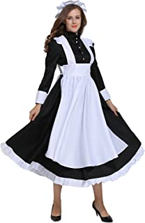 Victorian Maid Costume Colonial Women Dress with Apron