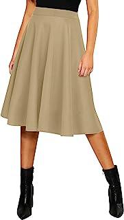 Sponsored Ad - Urban CoCo Women's Basic Elastic Waist A-line Solid Flared Midi Skirt