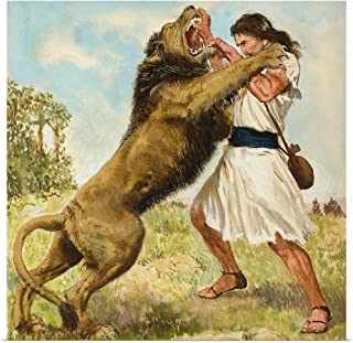 GREATBIGCANVAS Poster Print Samson Fighting a Lion by Clive Uptton 35
