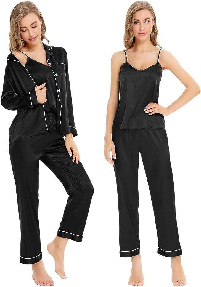 1960s – 1970s Lingerie & Nightgowns SWOMOG Womens Satin Pajamas 4pcs Pajama Set Sexy Cami Shorts Set and Button Down Long Sleeve Pjs Sleepwear Loungewear  AT vintagedancer.com