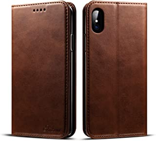 SHUANGRUIYUAN with Holder & Card Slots & Wallet, Calf Texture Horizontal Flick Leather Case for iPhone X/XS (Color : Coffee)