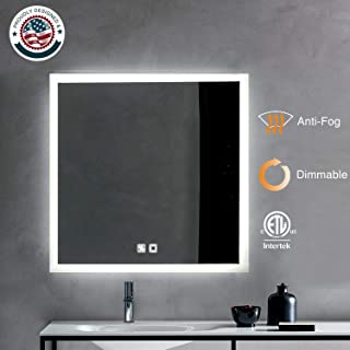 ExBrite LED Bathroom Mirror, 36 x 36 inch, Anti Fog, Dimmable, Touch Button, Slim,90+ CRI, Waterproof IP44,Both Vertical and Horizontal Wall Mounted Way