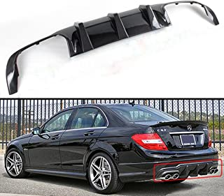 Fits for 2012-2014 Mercedes Benz W204 C-CLASS & C63 AMG Bumper Quad Exhaust Tip Carbon Fiber Rear Bumper Diffuser