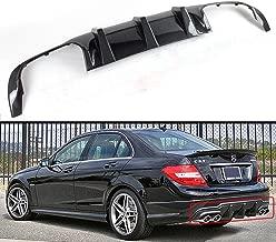 Fits for 2012-2014 Mercedes Benz W204 C-CLASS & C63 AMG Bumper Quad Exhaust Tip Carbon Fiber Rear Bumper Diffuser