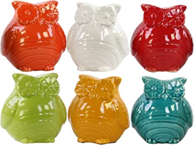 Urban Trends 28100-AST Ceramic Owl Figurine Six Gloss Finish Assorted Color (White, Turquoise, Red Orange, Amber and Olive)