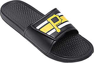a7b1c2cd6eff FOCO Youth Pittsburgh Pirates Stripe Legacy Sport Slide Sandals Size 11-12