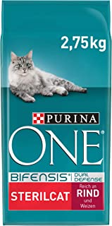 Purina ONE Sterilcat Kattenvoer, Adult kattenbrokken met Rund - Voor gesteriliseerde/gecastreerde katten; 2,75 kg - doos v...