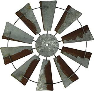 Things2Die4 Vintage Finish Rustic Metal Farmhouse Windmill Wall Sculpture 14.5 inch Diameter