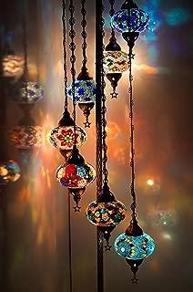 Turkish Moroccan Mosaic Floor Lamp Light, 7 Small  Globes
