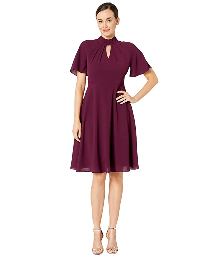 Maggy London  Crepe Fit and Flare Dress with Flutter Sleeve (Oxblood) Womens Dress