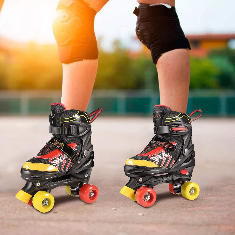 WeSkate Kinder-Quad-Rollschuh f/ür M/ädchen und Jungen Bequemer atmungsaktiver Rollschuh Skating Pat Pink, Schwarz