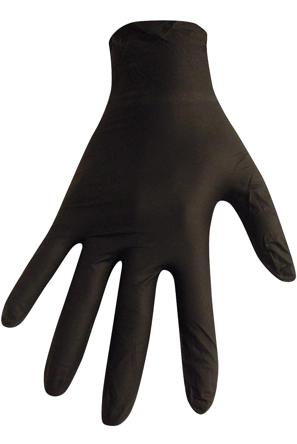 愛撫常習的常習的【5個セット】【箱なし発送】ニトリル極薄手袋 S?M?L 選べる4色(100枚入)(L, ブラック)