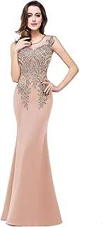 Women's Rhinestone Long Lace Formal Mermaid Evening Prom Dresses