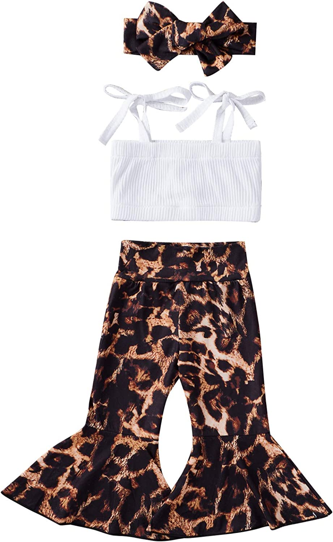 Toddler Baby Girls Summer Clothes Set Leopard Kids Sling Tops+Leopard Elastic Leg Pants