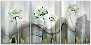 MuYu Art – 16x24 inch x3pcs Abstract Painting Giclee Prints Picture Wall Artwork Painting Green Lotus Flower Leaves Print On Canvas Wood Framed Picture for Home Modern Decoration (Green Flowers)
