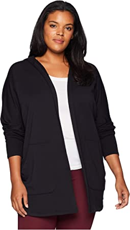 Plus Size Love and Fleece Hooded Cardigan