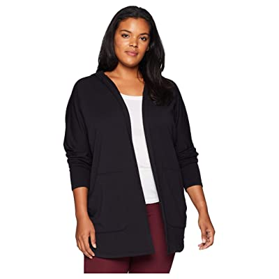Beyond Yoga Plus Size Love and Fleece Hooded Cardigan (Black) Women