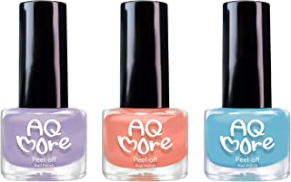 AQMORE Non Toxic Water Based Peel Off Nail Polish - Stays on for Days, Gel-like Shine, Dries in Minutes, Fragrance & Paraben Free, Kid Safe, 2 colors with Top Coat (0.20 fl oz/Bottle) - Rainbow Cake