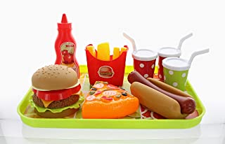 GiftExpress Burger Hot Dog and Pizza Fast Food Cooking Play Set for Kids with Hamburger, Fries, Hot Dog, Pizza, Coke, Ketchup, and Tray