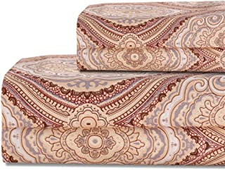 Bedlifes Bohemian Paisley Sheet Set Queen Size Patterned Deep Pocket Bed Sheets Flat Sheet& Fitted Sheet& Pillowcases 100% Microfiber 4PCS Brown Queen