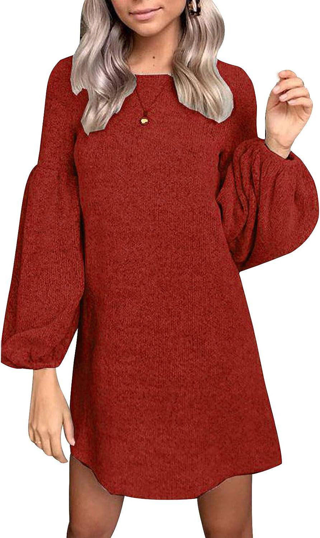 INIBUD Women Knit Sweater Dresses Long Sleeve Casual Short Sweater Tunic Dress