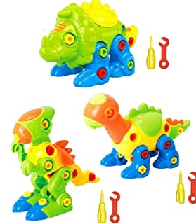 SooFam Dinosaur Toys Take Apart Toys With Tools (106 pieces) - Pack of 3 Dinosaurs With 6 Tools And a Beautiful Container...