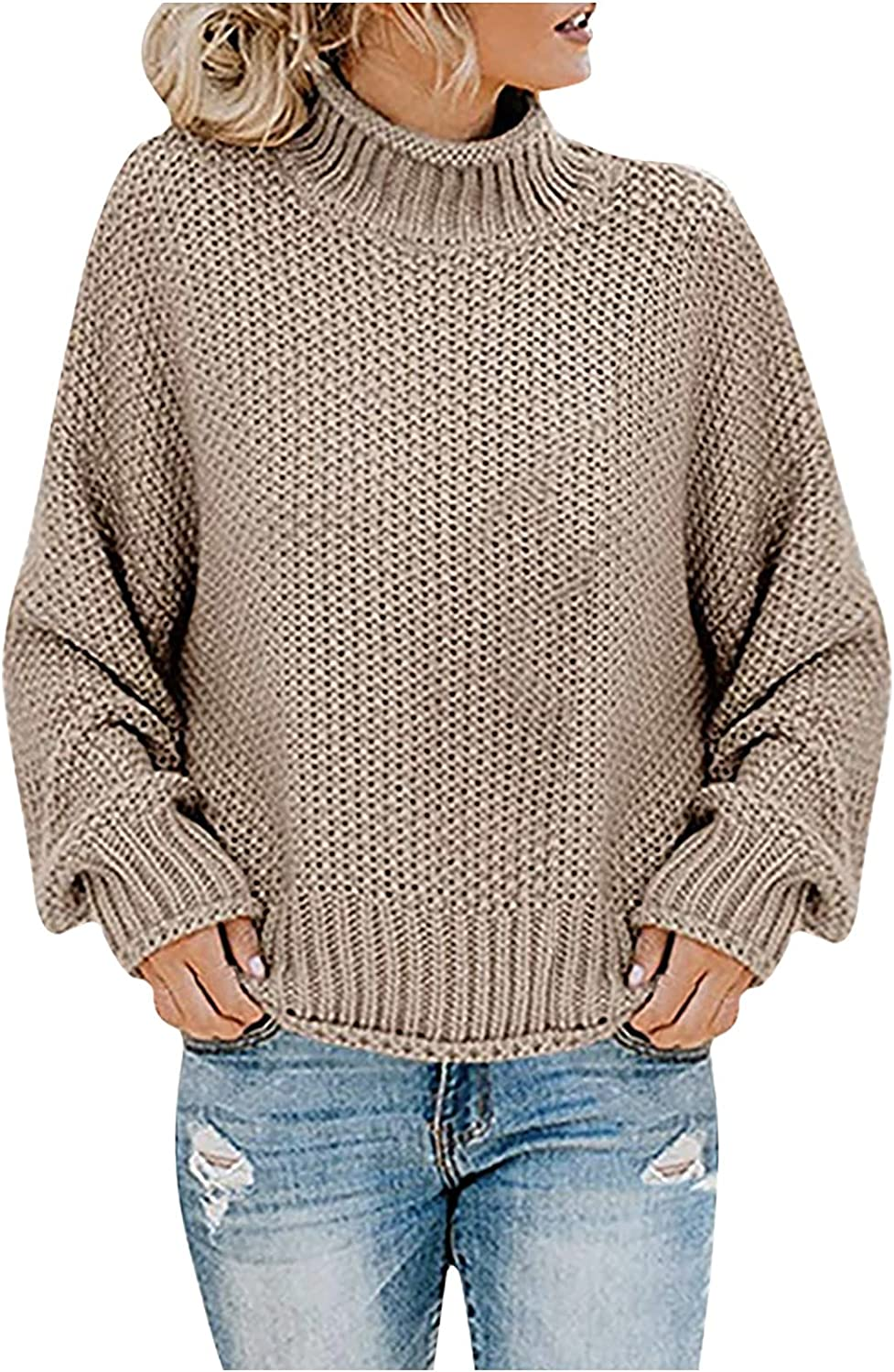RFNIU Sweaters For Women Fall Fashion Casual Baby Blue Crew Neck Knit Pullover Shirt Loose Long Sleeve Blouses Tops